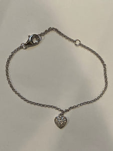 Sterling silver bracelet with heart charm HCB306