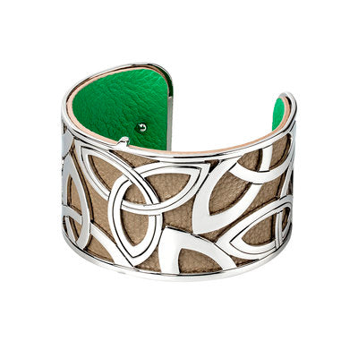 RHODIUM PLATED LEATHER WIDE TRINITY KNOT CUFF BANGLE