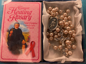 Cancer healing rosary with prayer card