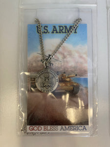 US army medal with prayer card
