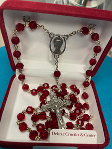 Garnet tin cut rosary R402DF
