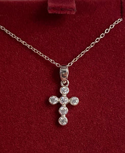 Silver cross pendant and earrings