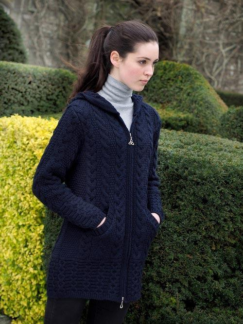 GALWAY HOODED COAT WITH CELTIC KNOT ZIPPER HD4025 (NAVY)