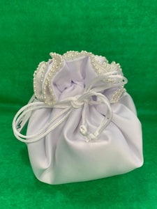 Satin Pearl Trim Tear-Drop Purse