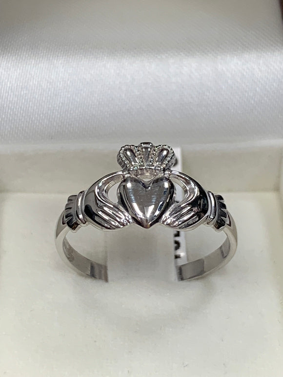 White Gold Women's Claddagh Ring