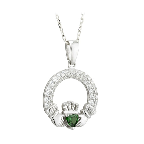 SILVER CLADDAGH PENDANT WITH MAY BIRTHSTONE