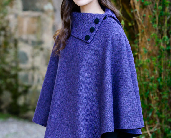 mucros poncho with shawl collar