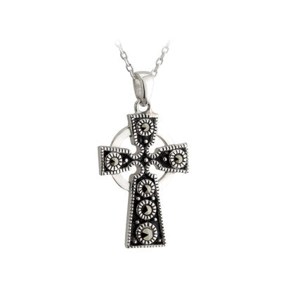 SILVER LARGE MARCASITE CROSS PENDANT