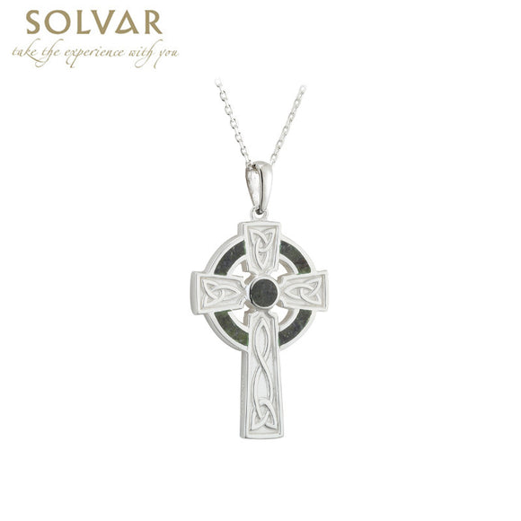 Sterling Silver Small Marble Cross Pendant