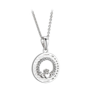 SILVER CUBIC ZIRCONIA CLADDAGH ROUND PENDANT