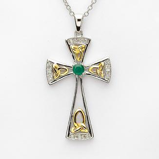 STERLING SILVER & GOLD PLATED DIAMOND EMERALD CROSS ge456