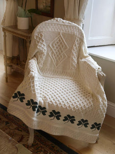 TRADITIONAL IRISH SHAMROCK BLANKET, 100% WOOL