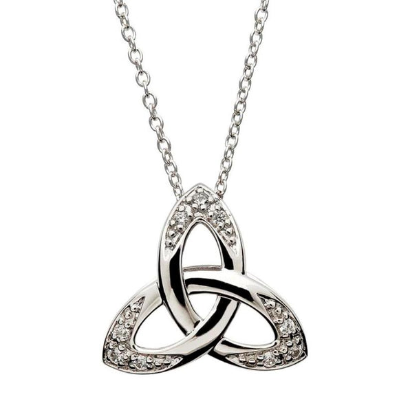 SILVER CZ 3D TRINITY NECKLACE WITH ENCRUSTED CRYSTALS