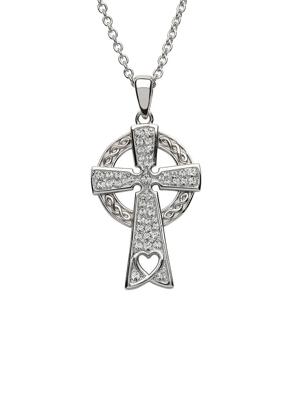 Silver Celtic Cross with Swarovski Crystals and Heart