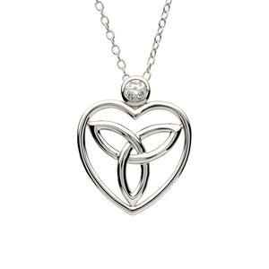 Silver Celtic Trinity Knot Pendant Adorned With A Crystal