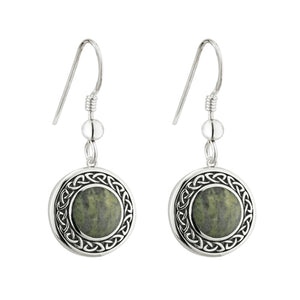 SILVER CONNEMARA MARBLE ROUND CELTIC DROP EARRINGS