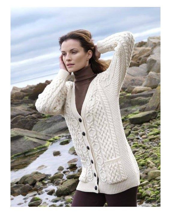 Aran Crafts Merino Wool V-Neck Boyfriend Cardigan - Ladies