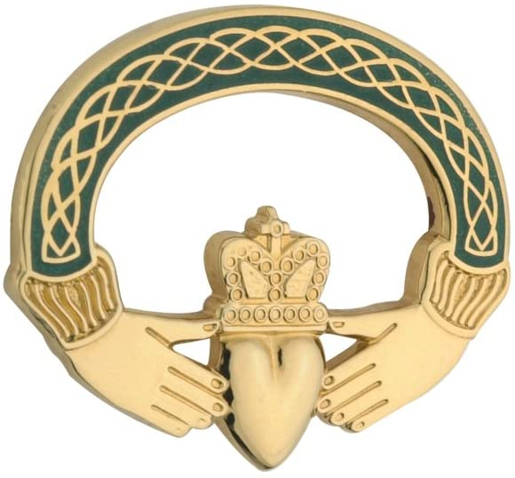 Green Claddagh Gold Plated Brooch