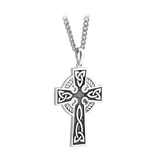 SLVER DOUBLE SIDED OXIDISED CROSS ON STEEL CHAIN S44764