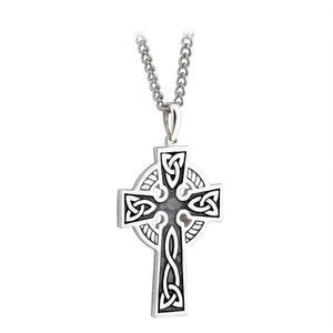 DOUBLE SIDED OXIDISED CROSS ON STEEL CHAIN