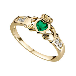 10K GOLD EMERALD CLADDAGH RING S2518