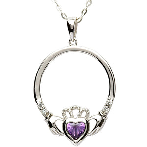 Silver Claddagh February Birthstone Pendant