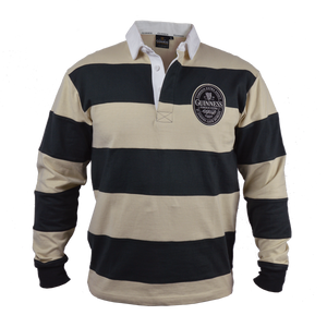Guinness Cream and Black Stripped Long Sleeve Rugby Jersey