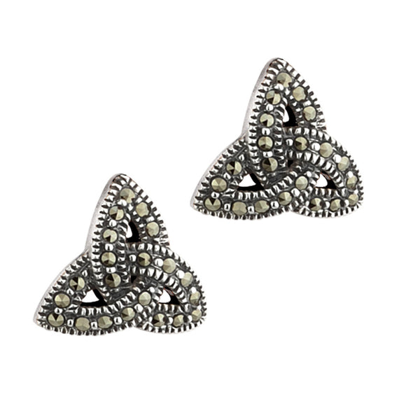 SILVER TRINITY KNOT MARCASITE EARRINGS