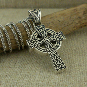 Silver Celtic Thick Large Cross mans