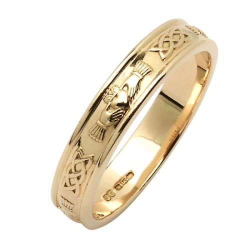 14k Narrow gents claddagh Celtic band size 10 #36