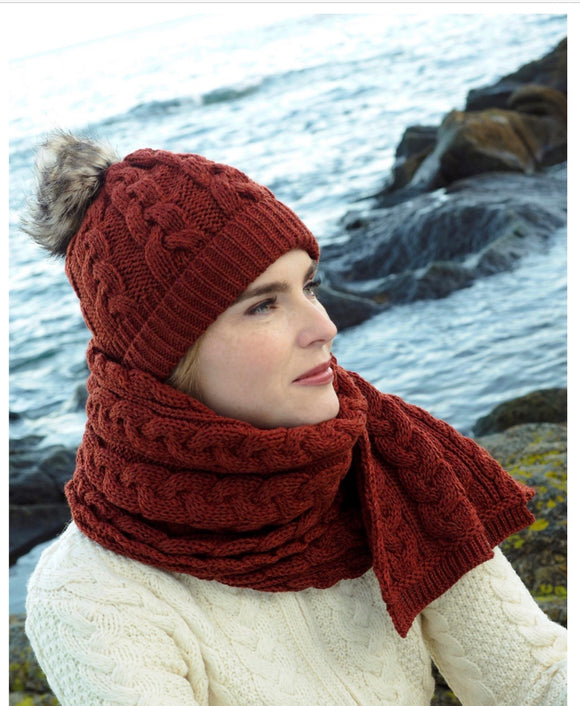 CHUNKY CABLE SCARF & HAT Set in Sienna (sold seperately)