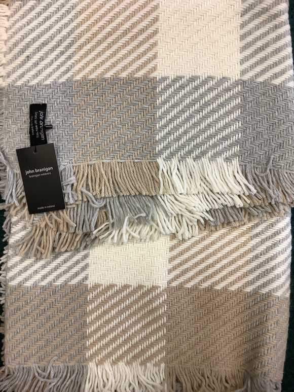 John brannigan multi beige throw