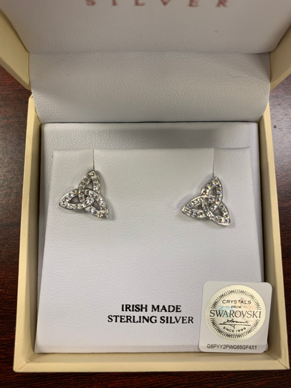 Silver Trinity Earrings with Swarovski Crystals