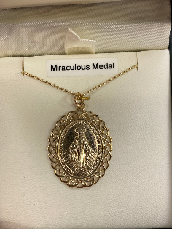 9ct gold miraculous medal large P73039