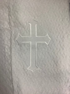 White Christening Blanket with White Embroider Cross and Green shamrock #B-22