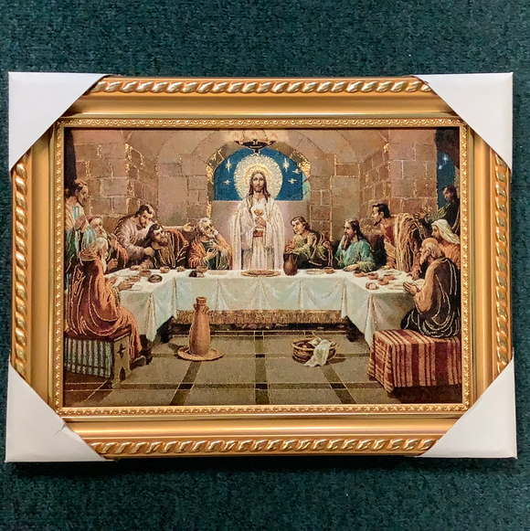 Last supper framed tapestry 14x18