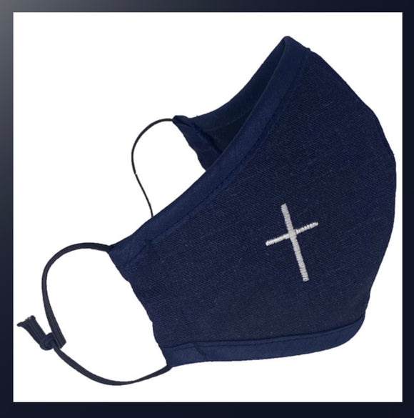 Child's first communion face mask navy with white cross
