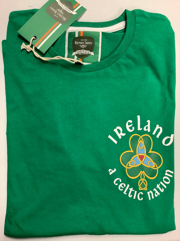 Retro Irish Celtic Nation with Shamrock Design