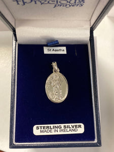 Sterling silver St. Agatha medal SH57111