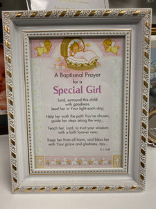 "Baptism Prayer for a ""Special Girl"" Frame"
