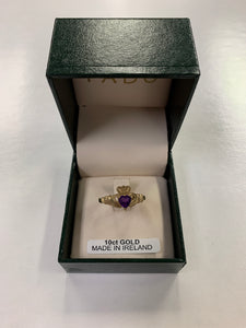 10K Gold Claddagh Ring with Amethyst Birthstone