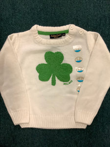 Traditional craft cream knit shamrock kids jumper T7468