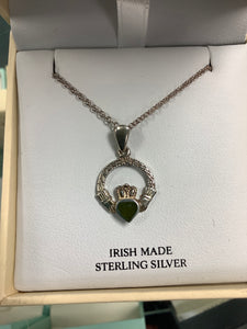 Silver Claddagh Pendant with Connemara Marble Heart