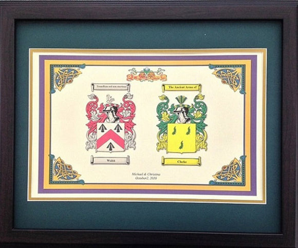 Double Coat of Arms Framed Walnut 16x20
