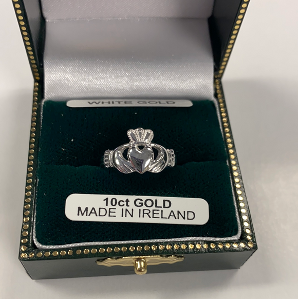 10k ladies white gold claddagh #284
