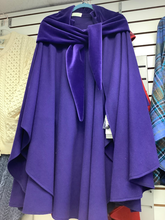Jimmy hourihan beautiful elegant purple cape with velvet scarf
