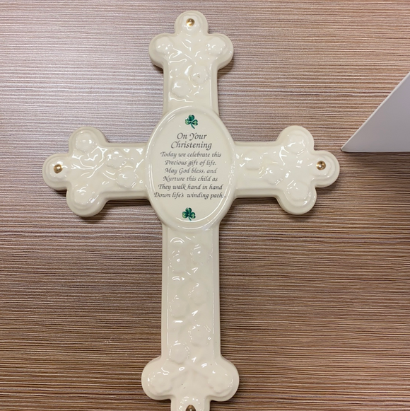 "Ceramic wall cross ""On Your Christening "" 12"""