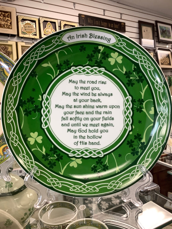 An Irish blessing shamrock plate with stand