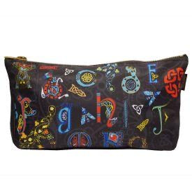 Celtic alphabet cosmetic bag black