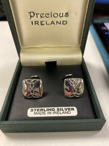 Sterling silver square trinity cuff links SM74330